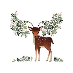 Lopes Margueritte ✿ Deer ✿ Leafs ✿ #Illustration