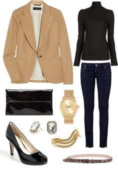 Business casual work outfit: Camel blazer, black sweater/long sleeved shirt, skinny jeans. I'd wear boots or closed toe heels.