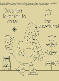 Primitive Stitchery E-Pattern Chicken by by JoAnnCountryCorner