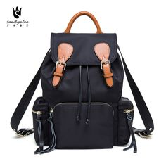 2016 New Parachutes Canvas Woman Backpack with Leather Pull Rope Bucket Backpacks  Casual Laptop Bagpack Travel Bags 35cd765ca43c9