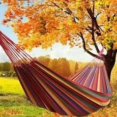 Camp Sleeping Gear Portable Outdoor Hammock Garden Sports Home Travel Camping Swing Canvas Stripe Hang Bed Hammock Red Blue 180 X 70cm