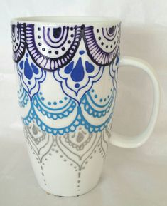 Bohemian lace mandala tall latte coffee mug Check out this item in my Etsy shop https://www.etsy.com/listing/256445721/hand-painted-mandala-style-tall-latte