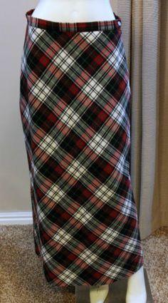$29.99 Hanna Andersson Long Plaid Skirt A Line 10 Med Red Black White Green No Slits | eBay