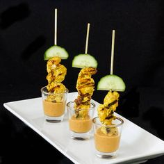 Chicken Satay served with peanut sauce makes a great appetizer or meal christmas appetisers Appetizers For Party, Appetizer Recipes, Shot Glass Appetizers, Canapes Recipes, Asian Appetizers, Tapas Recipes, Crab Recipes, Party Recipes, Cocktail Recipes