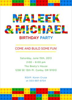 Fun Lego birthday invites... got PDF file from Etsy.com