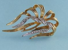 Boucher Ribbon Rhinestone Silver and Gold by ChicagoGirlVintage, $34.00