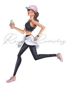 Illustration Mode, Illustrations, Girly Drawings, Moda Fitness, Fitness Logo, Fitness Studio, Fashion Wall Art, Sport Motivation, Monday Motivation