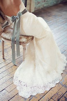 Open Back Lace Wedding Dress with Dusty Blue Sash