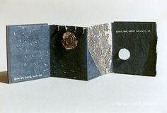 Death by Nina Judin. A miniature artist book, inspired by a tragic letter from a friend. The story has a happy ending with great wisdom and insight!  Rubber, Mingeishi paper, mixed media