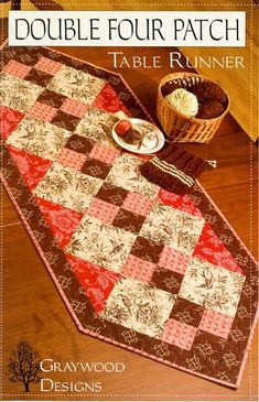 table runner quilt pattern | Double Four Patch Runner | graywood designs: