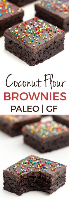 These delicious and easy coconut flour brownies are super fudgy and nobody will believe that they're paleo let alone gluten-free grain-free nut-free and dairy-free! A how-to recipe video is included with this delicious brownie recipe. Coconut Flour Brownies, Gluten Free Brownies, Gluten Free Treats, Gluten Free Desserts, Dairy Free Recipes, Baking Brownies, Coconut Flour Desserts, Fudge Brownies, Gluten Free Recipes Coconut Flour