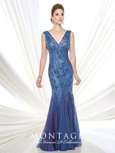 Ivonne D Exclusively for Mon Cheri - 215D11 -Sleeveless hand-beaded two-tone chiffon fit and flare gown with front and back V-necklines, dropped waistline, chiffon inset skirt. Matching shawl included (as shown wrapped around shoulders).Sizes: 4 – 20, 16W – 26WColors: Periwinkle, Rose Quartz, Pewter