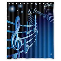Scrolled Metal Garden Gate Graphic Shower Curtain Musical Notes Bath Curtain