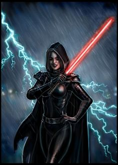 Sith is about to chop a head. Very punful. I found out that painting rain drops with a mouse is cha. Sithin' in the Rain Star Wars Fan Art, Star Wars Concept Art, Star Wars Characters Pictures, Images Star Wars, Star Wars Sith, Star Wars Collection, Female Jedi, Starwars, Star Wars Painting