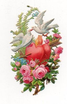 Superb Victorian die cut depicting birds flowers and red heart