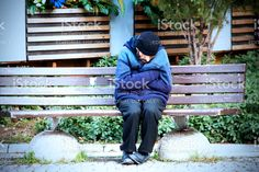 Homeless Man Is Feeling Chilly royalty-free stock photo
