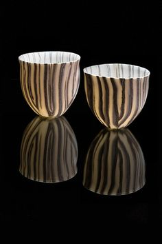 These are lovely David Pottinger Translucent porcelain bowls, using Nerikomi #1 10.5x10x10cm #2 9.5x9x8.5cm SOLD
