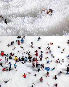 """The Beach > 2015 installation at the National Building Museum Washington D.C.; designer: Snarkitecture @snarkitecture (mentor for the Lexus Design Award 2016)  By encouraging interaction within an unexpected memorable landscape this installation prompted people to question their usual perceptions of the natural environment.  The Beach spanned across 10000 square feet of the museums Great Hall. Visitors were welcomed to play in an """"ocean"""" of nearly one million recyclable translucent plastic…"""