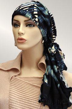 $34.50 - Navy Abstract Calypso Headscarf #cancer #chemo #hairloss