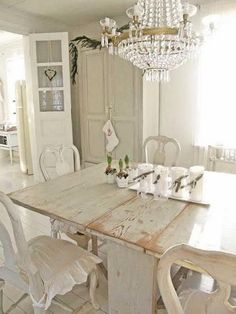 Shabby Chic Dining Furniture Table 37 ... gives the old colonial plantation feel. Cabinets that are intricately carved or simple with a geometric diamond the colors are deeply absorbed into ...panels can be used as a headboard as well. Imagine replacing the doors of a Colonial farmhouse with these magnificent doors. Totally spectacular!!Natu #topics.easyshabbychic.com #shabby-chic-farmhouse-dining #shabby