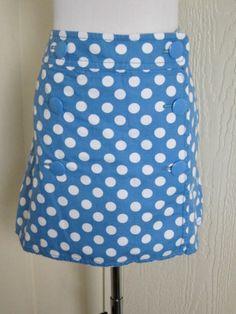 J. Crew size 14 blue polka dot faux wrap cotton mini skirt