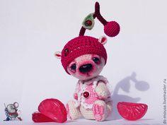 Купить Мишка Вишенка - бежевый, мишка ручной работы, крючком, мишки тедди, миниатюрный мишка