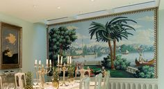 Hand painted scenic wallpaper from Yrmural Studio,Good price with same high quality as deGournay and Zuber at http://www.yrmural.com