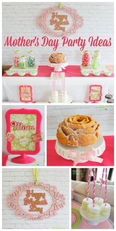 This Mother's Day luncheon has a pretty rose cake, signs and marshmallow pops!  See more party ideas at CatchMyParty.com!
