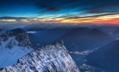 A rainbow riot of colour: An Alpine Sunset over the Zugspitze mountains in Bavaria, Germany shows just how rich and varied the sky's different hues are