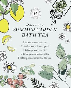 A summer garden bath tea is a great way to unwind. Here are our top five herbs to include plus tips for planting, growing, and harvesting these herbs too! Books And Tea, Diy Beauté, Herbal Magic, Bath Tea, Kitchen Witch, Herbal Tea, Tea Recipes, Summer Garden, Herbal Medicine