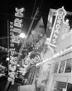 Neon signs on South Granville, multiple exposure, Vancouver, BC, 1948 Vintage Signs, Vintage Photos, Granville Street, Photo Record, Neon Noir, Multiple Exposure, Old Signs, Photographic Studio, Lost Art