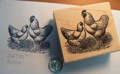 """2 Chickens rubber stamp WM 2x2.5"""""""