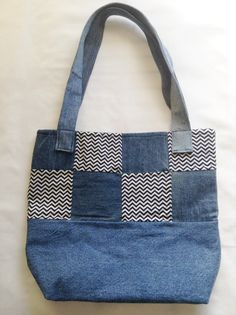 Recycled Denim and Chevron Tote Bag by Clutch89 on Etsy  https://www.etsy.com/shop/Clutch89