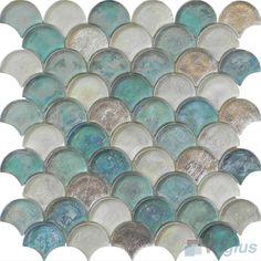 Tiffany Blue Fan Shape Fish Scale Glass Tiles VG-UFN92