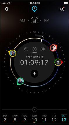 Screenshot of Dials Calendar app UI design showing the main view of the app.