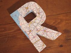 """Vintage Map Covered Letter - """"R"""" - Home Decor, East Coast, 3 Dimensional, Free Standing by CaffeinatedSquirrel on Etsy"""