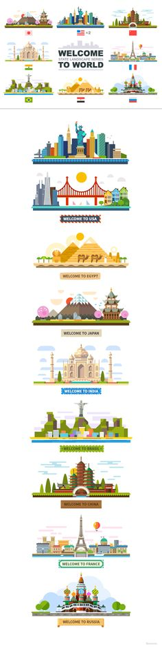 Welcome to world, flat landscape set ~ Illustrations ~ Creative Market Flat Design, Web Design, Icon Design, Design Art, Logo Design, Design Ideas, City Illustration, Graphic Design Illustration, Landscape Illustration