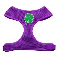 Shamrock Screen Print Soft Mesh Harness Purple Extra Large