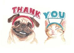 Thank You Card Dog Watercolor Cat Illustration por WaterInMyPaint