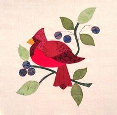 Red Cardinal Baltimore Album Appliqued  Quilt Block  $9