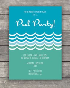 Pool Party Summer Party Invitation