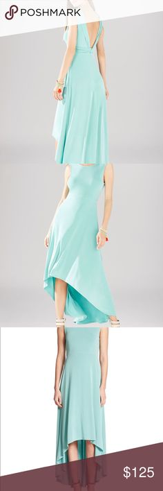 Sleeveless Open V-Back Dress with Twist Detail BCBGMaxAzria high-low dress with twist, open back in vintage light aqua color, size: Small - never worn with no stains or flaws.   Flaunts a sleeveless, low back and breezy high-low silhouette with round neckline, and v-back with twist detail. Pullover style in a blend of modal/polyester/spandex (jersey) material that is very comfortable! BCBGMaxAzria Dresses