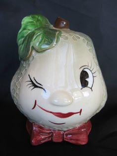 PY Vintage Anthropomorphic Pear Fruit Face Planter Napco Coronet Excellent | eBay