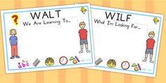 Editable WILF WALT Display Signs - WILF, WALT, classroom signs