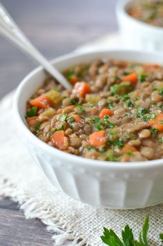 This slow cooker lentil soup is super easy to make and can last all week. It's delicious and hearty, making it perfect for fall and winter.