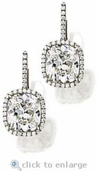 Ziamond Cubic Zirconia 8.5 Carat Cushion Cut & Round Earring Drops 14K WG.  19 cts total carat weight  $2195
