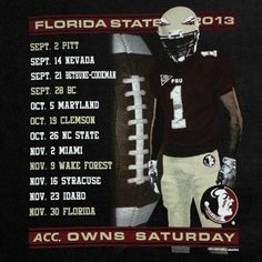 Florida State Seminoles (FSU) We Own Saturday Football Schedule T-Shirt - Black