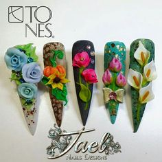 ♥Pin ID: masternail, ♥instagram ID: mikexnail, ♥share with you that nails of the world's more & more ♥♥♥ 3d Nail Designs, Flower Nail Designs, Beautiful Nail Designs, Acrylic Nail Designs, 3d Acrylic Nails, 3d Nails, Swag Nails, Art Deco Nails, 3d Flower Nails
