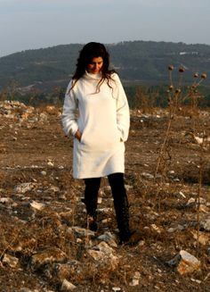 Sweatshirt white dress Off White Winter Fleece Top by pazitive, $110.00