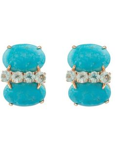 Turquoise Cabochon And Blue Topaz Earring by Bounkit from Bounkit Jewelry